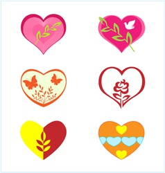 hearts with various plants vector image