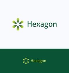 Hexagon drops flower logo vector