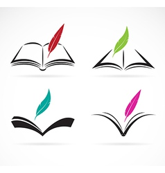 Image of an book and feather vector