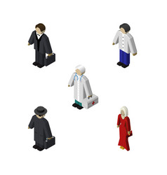 Isometric person set of investor medic male and vector