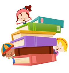 kids with books vector image