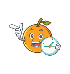 Orange fruit cartoon character with clock vector