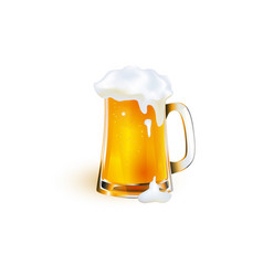 realistic mug of golden beer with foam vector image vector image