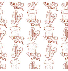 Seamless pattern with a harp and a high hat vector