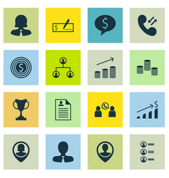 Set of 16 hr icons includes manager business vector