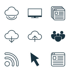 Set of 9 internet icons includes team website vector