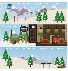 Set of winter fun interior flat posters vector