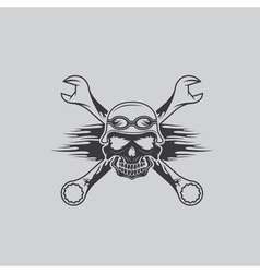 Skull in helmet and wrenches with flames vector