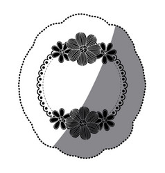 sticker silhouette decorative ornament with vector image vector image