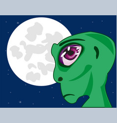 Stranger on background of the moon vector