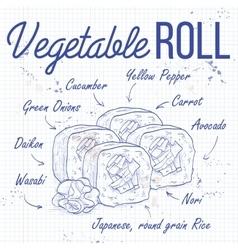 sushi sketch Vegetable roll vector image