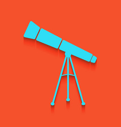 Telescope simple sign whitish icon on vector