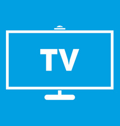 Television icon white vector