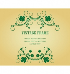 vintage frame with clover vector image