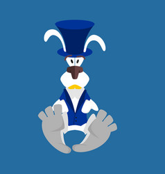white rabbit in hat hare in blue vest alice in vector image
