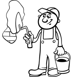 worker with trowel coloring page vector image