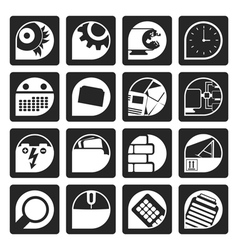 Black computer mobile phone and internet icons vector