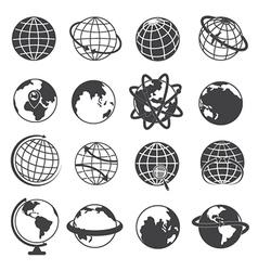 Earth Globe Icons Set on White Background vector image