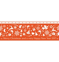 Seamless red christmas border ornaments vector