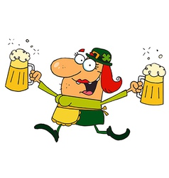 Female leprechaun running with beers vector