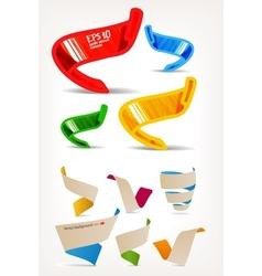 Mega set of colorful origami and handmade ribbons vector image