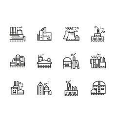 industrial plants black line icons set vector image