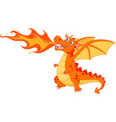 angry dragon with fire vector image