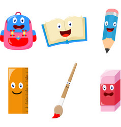 cute school supplies cartoon vector image