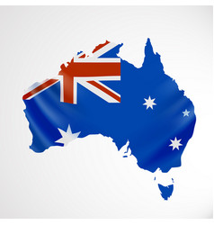 Hanging australia flag in form of map vector