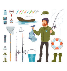 Fisherman elements set vector
