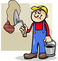 Worker with trowel cartoon vector