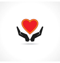 Hand protecting a heart icon vector image
