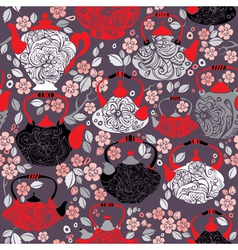 Seamless pattern with retro design china tea pots vector