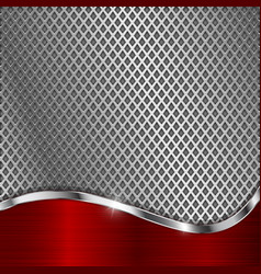 metal perforated background with red chrome curve vector image