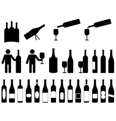 People with wine bottles vector