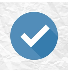 Check mark blue on crumpled paper vector