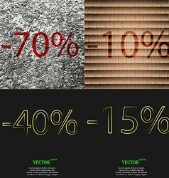 10 40 15 icon set of percent discount on abstract vector