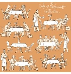 People at cafe and restaurant - hand drawn vector