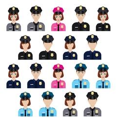 Set of policemen characters vector image