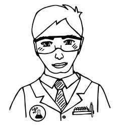 Hand-drawn scientist doodle isolated vector