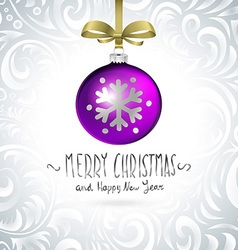 Template with single shiny violet christmas ball vector