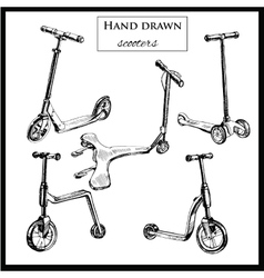 Set hand drawn scooters vector