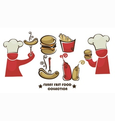 funny american fast food vector image