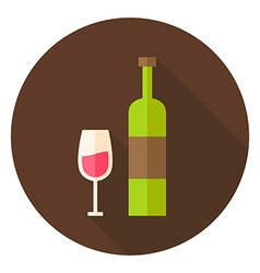 Wine bottle with glass circle icon vector