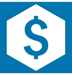 Dollar hexagon flat icon vector