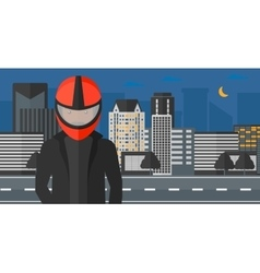 Man in biker helmet vector