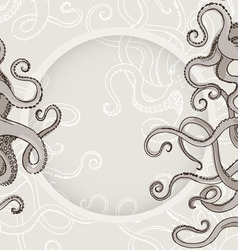 Octopus kraken card or border with feelers vector