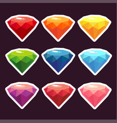 a set of stickers with gems vector image vector image