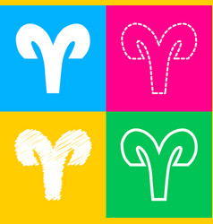 Aries sign four styles of icon on vector