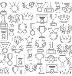 awards trophy medals success winner pattern vector image